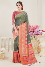 Load image into Gallery viewer, Bhelpuri Mehendi Nylon Silk Woven Saree with Tassels and Peach Nylon Silk Blouse Piece