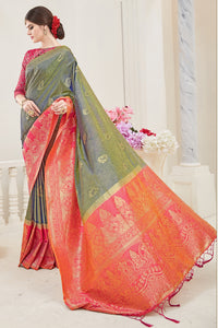 Bhelpuri Mehendi Nylon Silk Woven Saree with Tassels and Peach Nylon Silk Blouse Piece