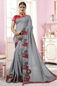 Bhelpuri Grey Satin Georgette Embroidered Lace Border Saree with Blouse Piece