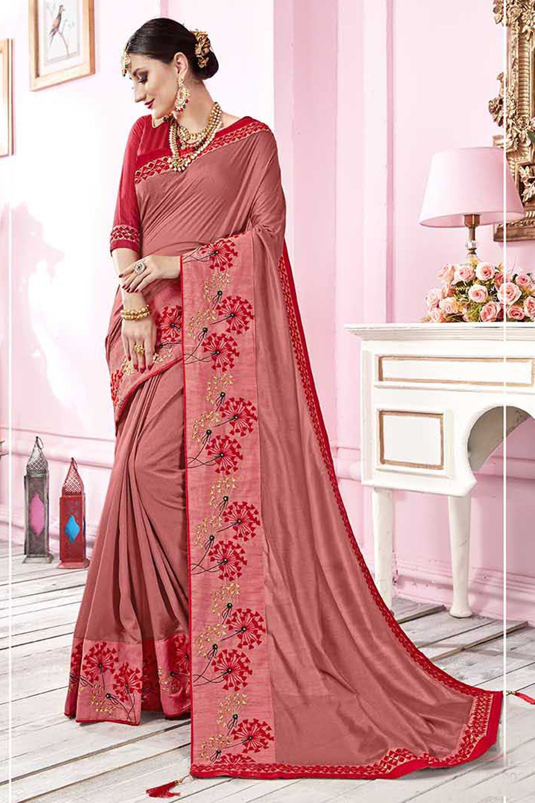 Bhelpuri Peach Satin Georgette Embroidered Lace Border Saree with Blouse Piece
