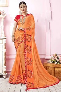 Bhelpuri Light Orange Satin Georgette Embroidered Lace Border Saree with Blouse Piece