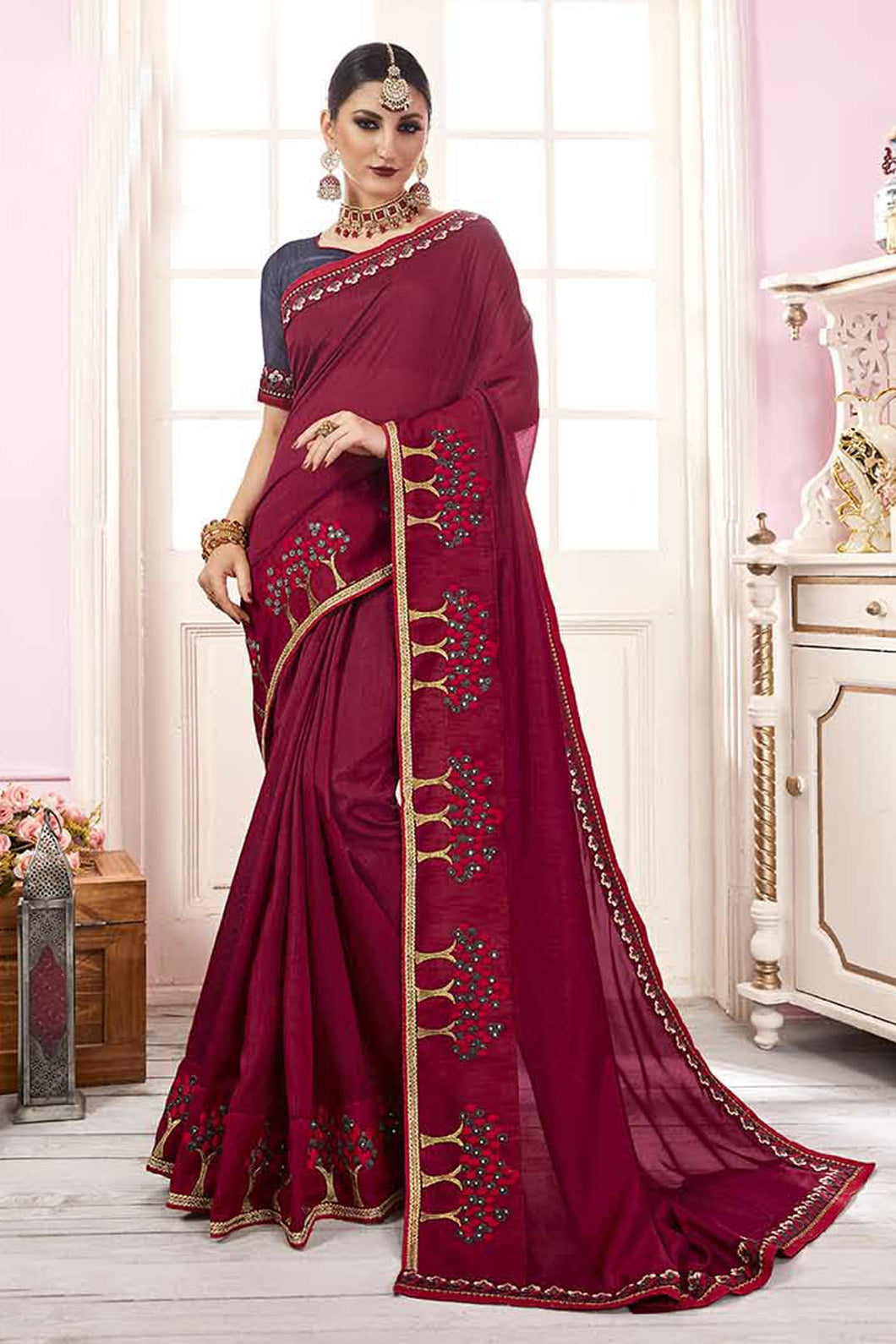 Bhelpuri Maroon Satin Georgette Embroidered Lace Border Saree with Blouse Piece