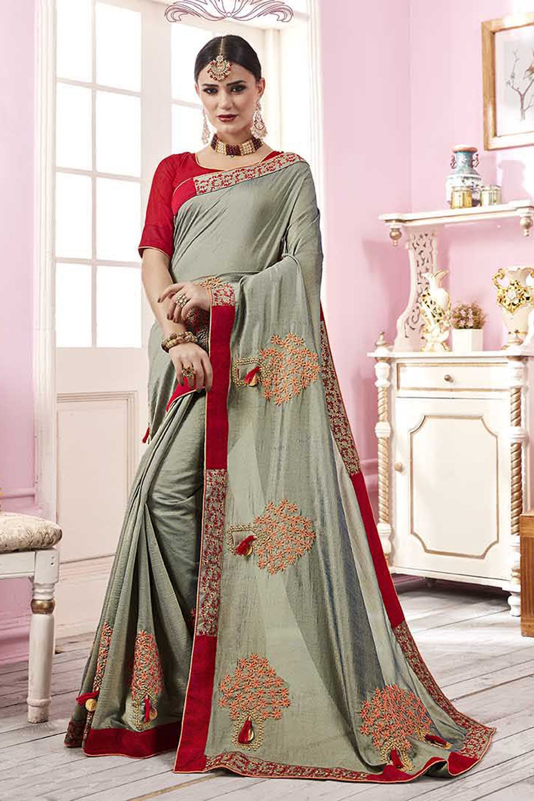 Bhelpuri Green Satin Georgette Embroidered Lace Border Saree with Blouse Piece