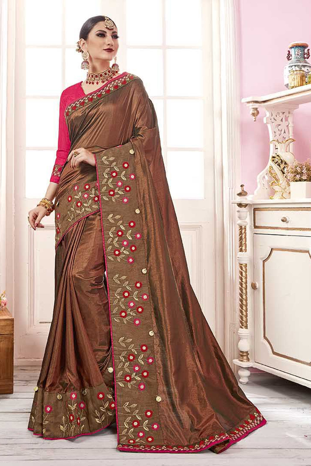 Bhelpuri Brown Satin Georgette Embroidered Lace Border Saree with Blouse Piece