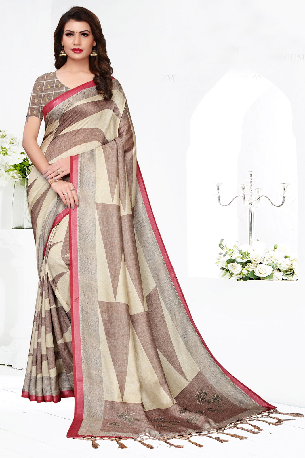 Bhelpuri Brown Pashmina Silk Printed Saree with Blouse Piece