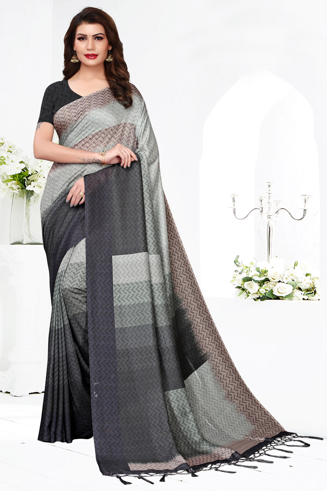 Bhelpuri Grey Pashmina Silk Printed Saree with Blouse Piece