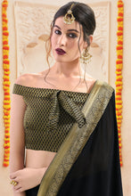 Load image into Gallery viewer, Bhelpuri Black Chiffon Lace Border Saree with Viscose Blouse Piece