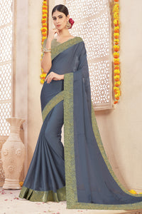 Bhelpuri Grey Chiffon Lace Border Saree with Viscose Blouse Piece