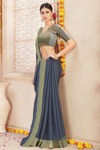 Load image into Gallery viewer, Bhelpuri Grey Chiffon Lace Border Saree with Viscose Blouse Piece