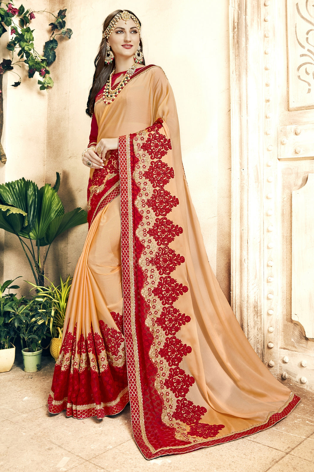 Bhelpuri Cream and Red Georgette Embroidered Lace Border Saree with Banglori Silk Blouse Piece