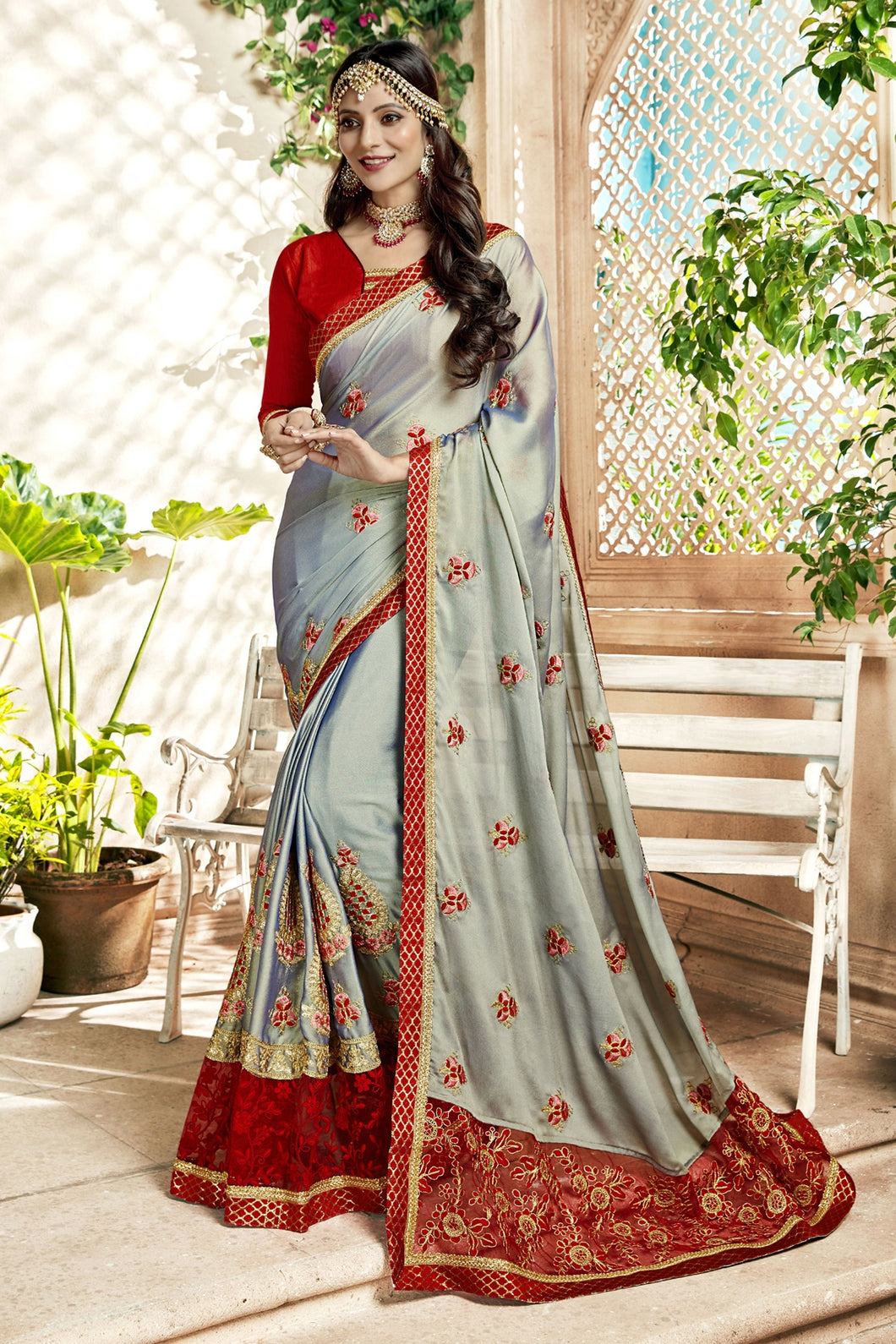Bhelpuri Grey Georgette Embroidered Lace Border Saree with Banglori Silk Blouse Piece