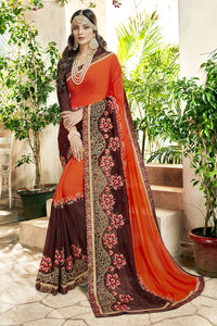 Bhelpuri Orange and Brown Georgette Embroidered Lace Border Saree with Banglori Silk Blouse Piece