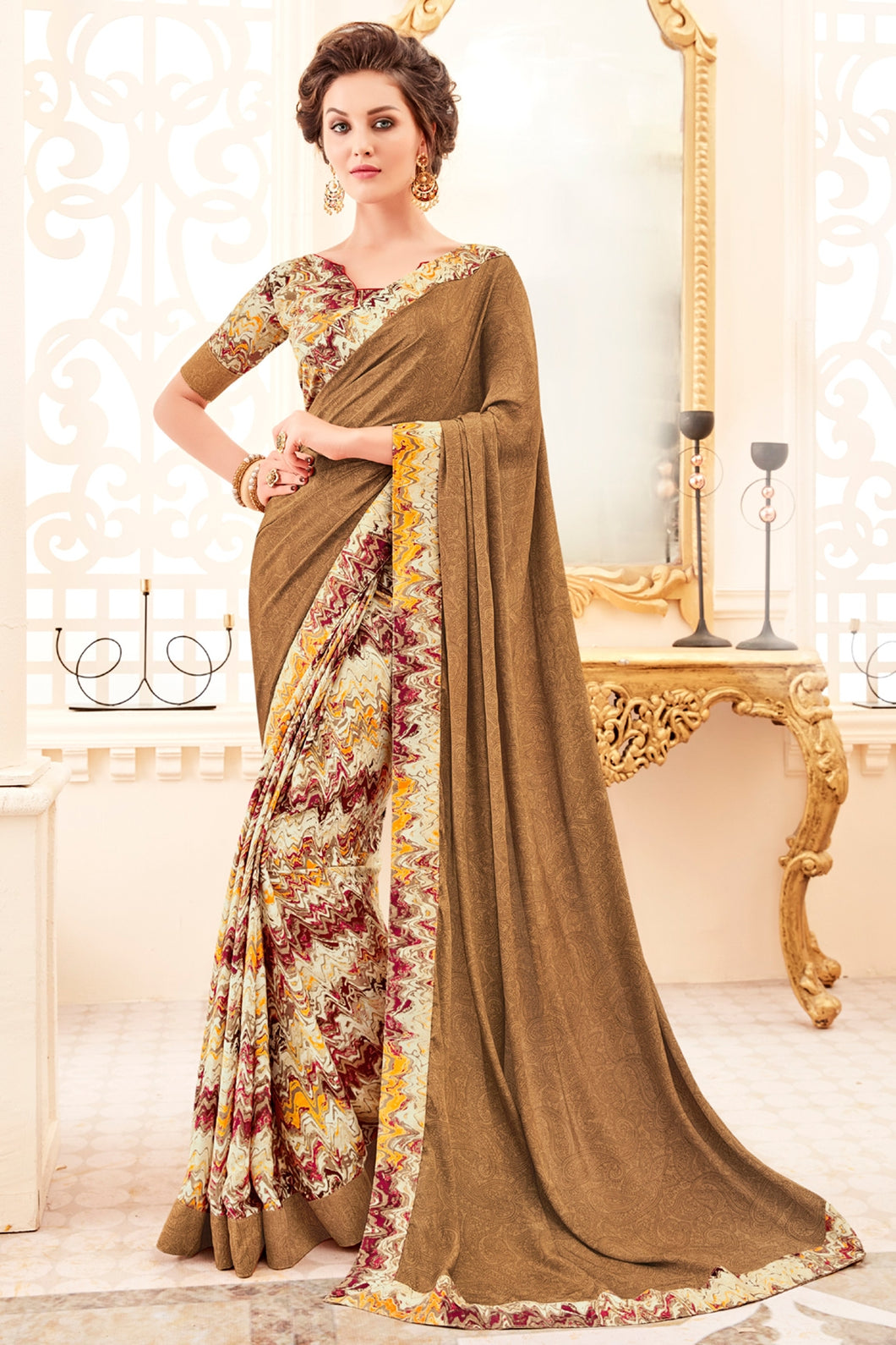 Bhelpuri Coffee Colour Art Silk Saree