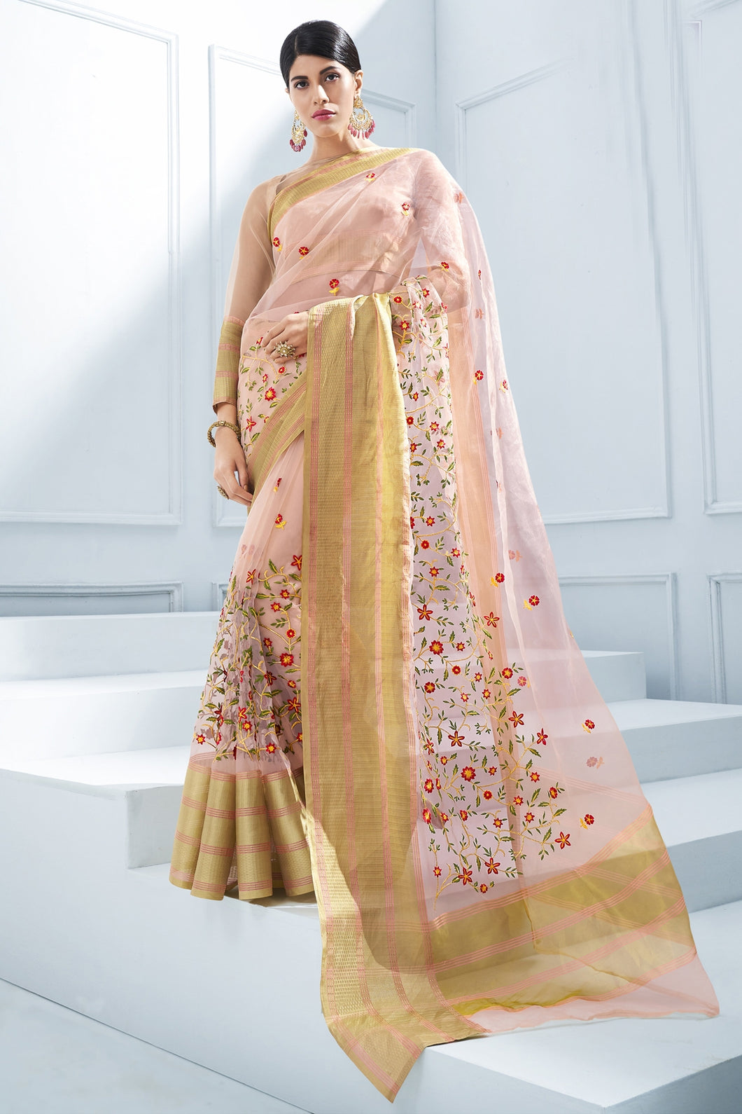 Bhelpuri Baby Pink Organza Silk Embroidered Designer Party Wear Saree with Blouse Piece