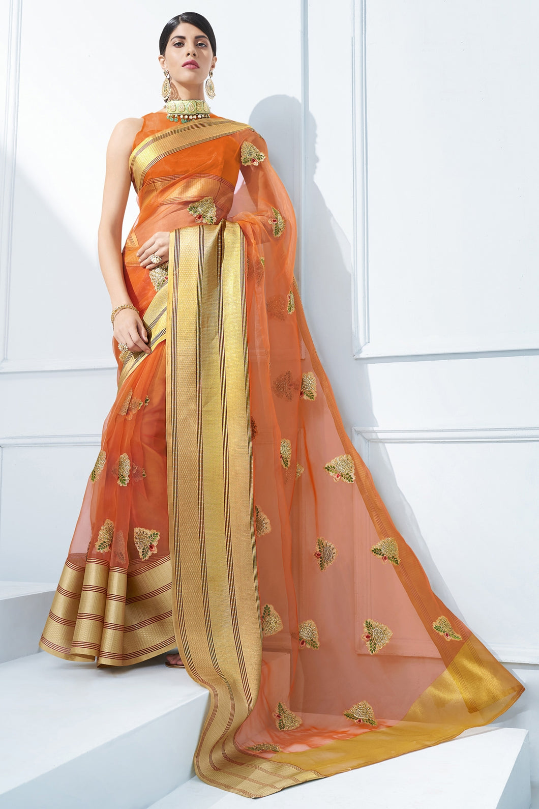 Bhelpuri Orange Organza Silk Embroidered Designer Party Wear Saree with Blouse Piece