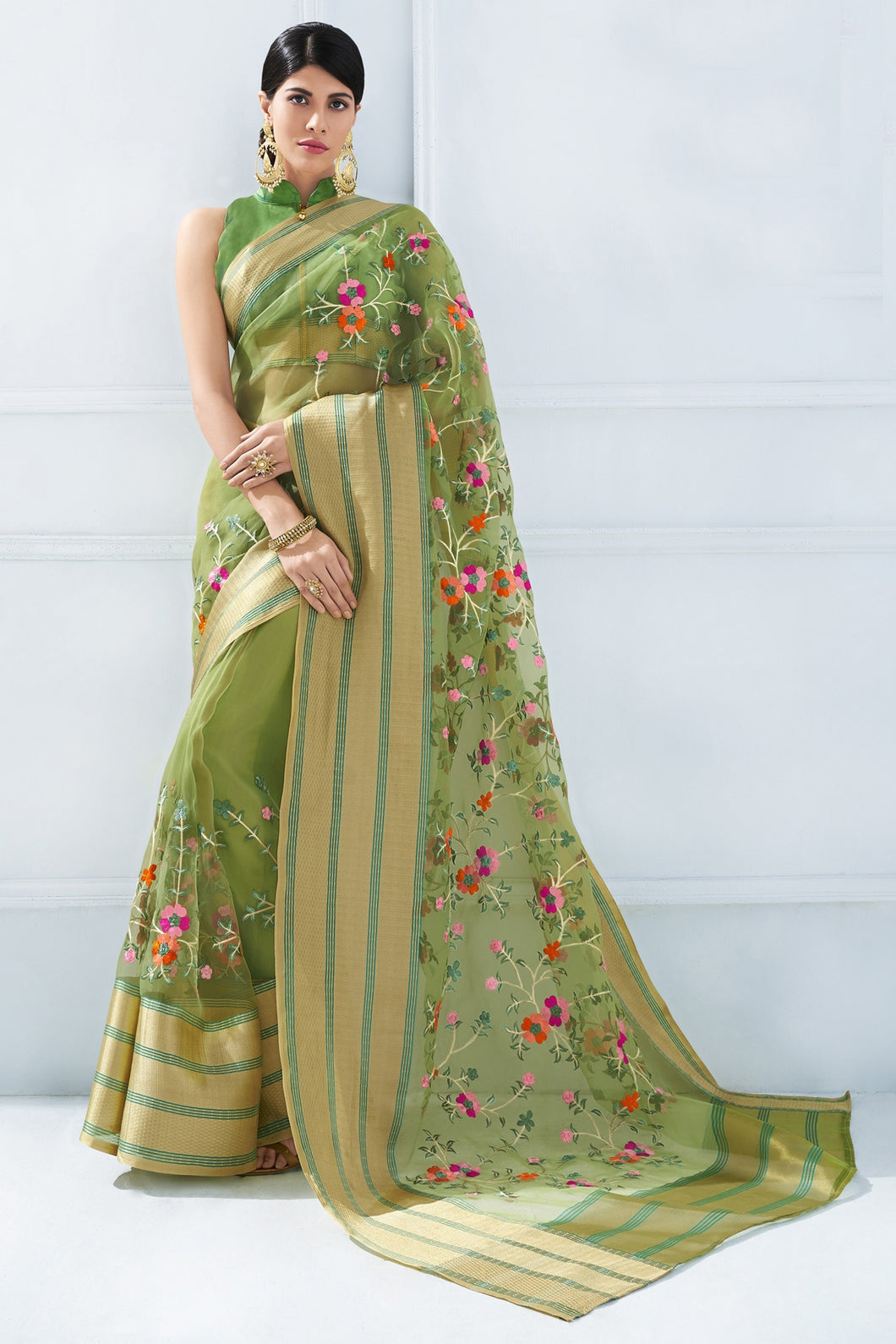 Bhelpuri Olive Green Organza Silk Embroidered Designer Party Wear Saree with Blouse Piece