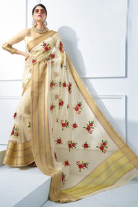 Bhelpuri Off-White Organza Silk Embroidered Designer Party Wear Saree with Blouse Piece