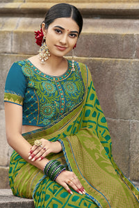 Bhelpuri Light Green Brasso Silk Designer Party Wear Saree with Embroidered Raw Silk Blouse Piece