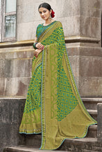 Load image into Gallery viewer, Bhelpuri Light Green Brasso Silk Designer Party Wear Saree with Embroidered Raw Silk Blouse Piece