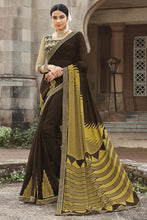 Load image into Gallery viewer, Bhelpuri Brown Brasso Silk Designer Party Wear Saree with Embroidered Raw Silk Blouse Piece