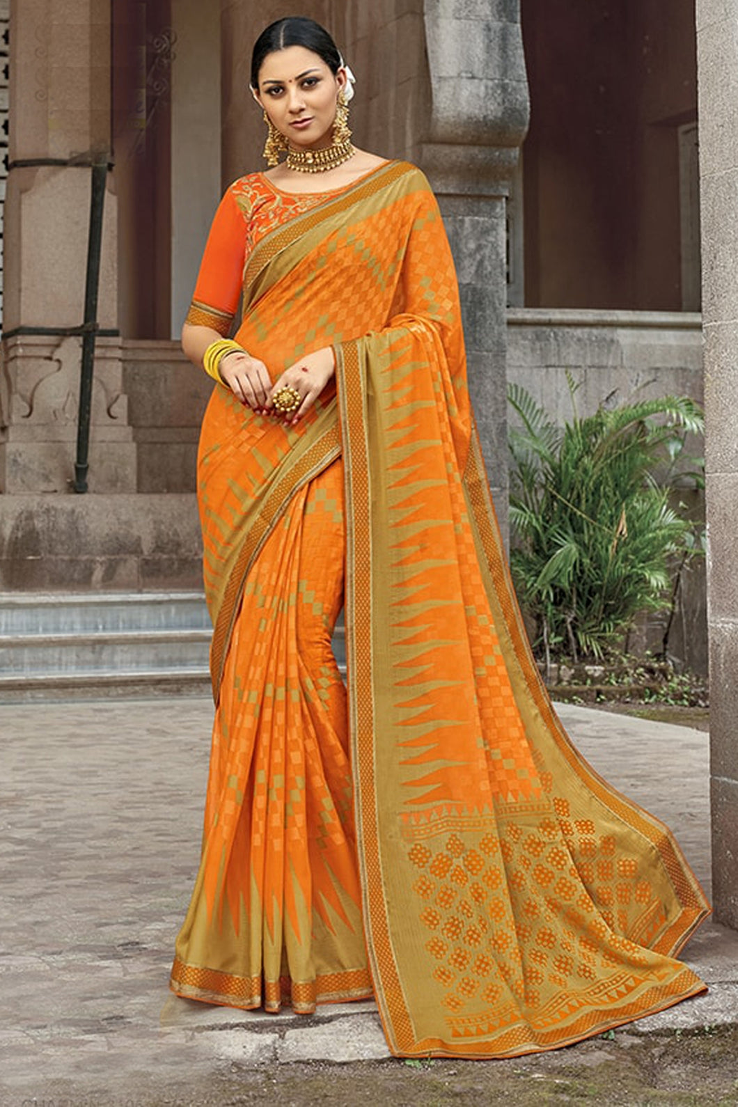 Bhelpuri Orange Brasso Silk Designer Party Wear Saree with Embroidered Raw Silk Blouse Piece