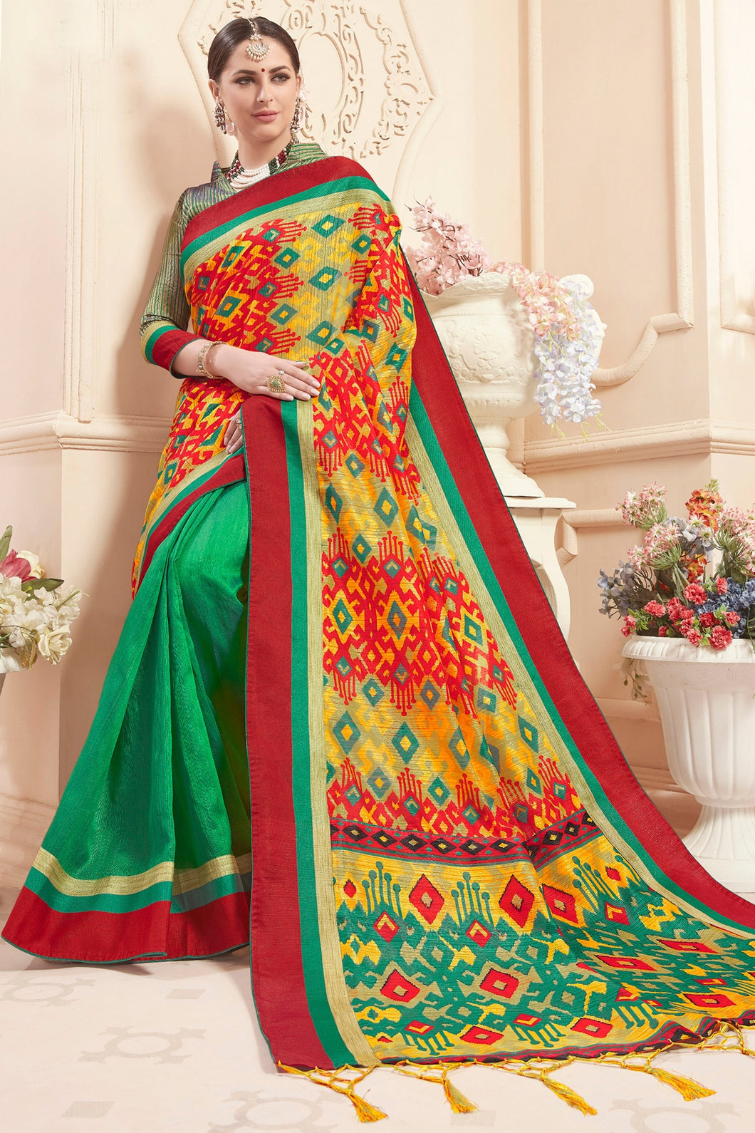 Bhelpuri Green & Multi Colour Art Silk Saree