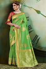 Load image into Gallery viewer, Bhelpuri Light Green Banarasi Art Silk Weaving With Jacquard Work Saree with Blouse Piece