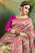 Load image into Gallery viewer, Bhelpuri Beige Banarasi Art Silk Weaving With Jacquard Work Saree with Blouse Piece