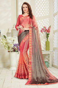 Bhelpuri Peach and Grey Brasso Digital Printed Saree with Banglori Silk Blouse Piece