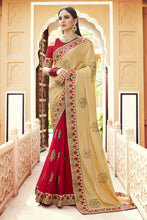 Load image into Gallery viewer, Bhelpuri Cream & Red Georgette Half n Half Embroidered with Stone Work Lace Border Saree with Banglori Silk Blouse Piece