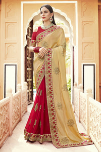 Bhelpuri Cream & Red Georgette Half n Half Embroidered with Stone Work Lace Border Saree with Banglori Silk Blouse Piece
