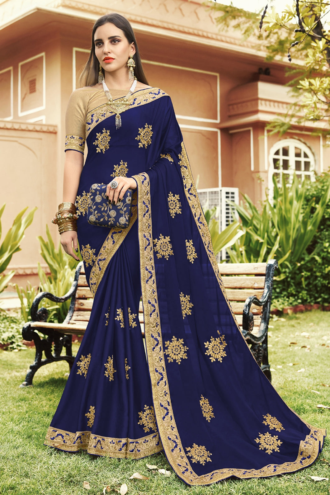 Bhelpuri Navy Blue Georgette Embroidered with Stone Work Lace Border Saree with Banglori Silk Blouse Piece