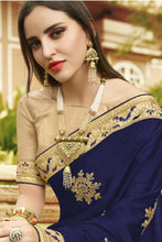 Load image into Gallery viewer, Bhelpuri Navy Blue Georgette Embroidered with Stone Work Lace Border Saree with Banglori Silk Blouse Piece