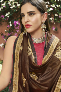 Bhelpuri Brown & Pink Art Silk Half n Half Embroidered with Stone Work Lace Border Saree with Banglori Silk Blouse Piece