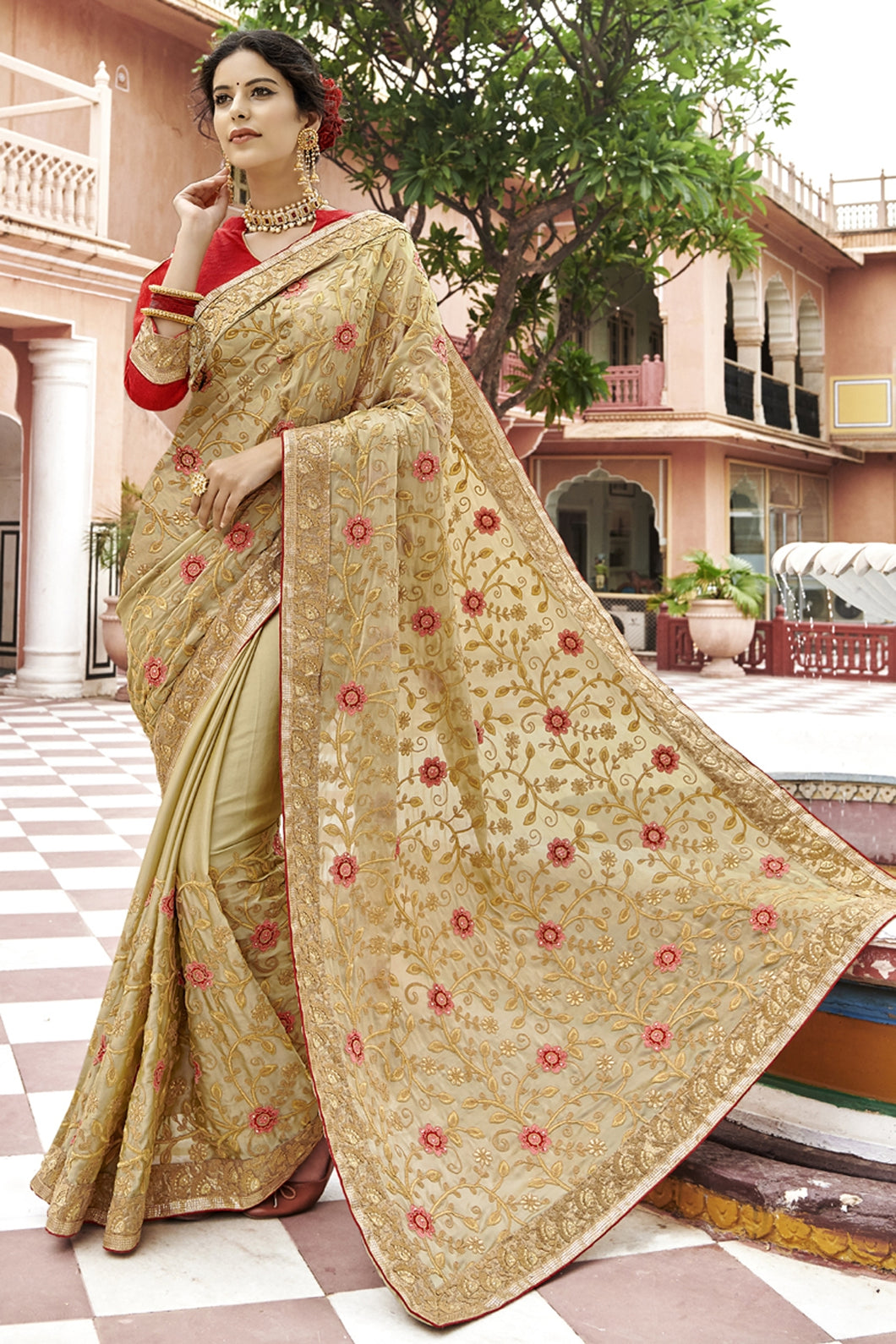 Bhelpuri Beige Georgette Saree Comprising Embroidered with Stone Work and Banglori Silk Blouse Piece