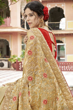 Load image into Gallery viewer, Bhelpuri Beige Georgette Saree Comprising Embroidered with Stone Work and Banglori Silk Blouse Piece