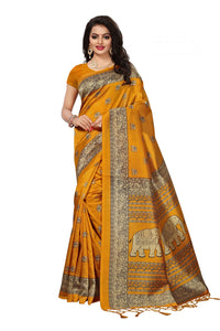 Bhelpuri Mustard Mysore Silk Printed Saree with Blouse Piece