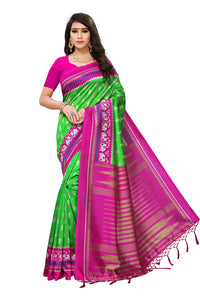 Bhelpuri Contrast Green and Pink Mysore Silk Printed Saree with Blouse Piece