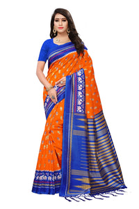 Bhelpuri Orange and Blue Mysore Silk Printed Saree with Blouse Piece