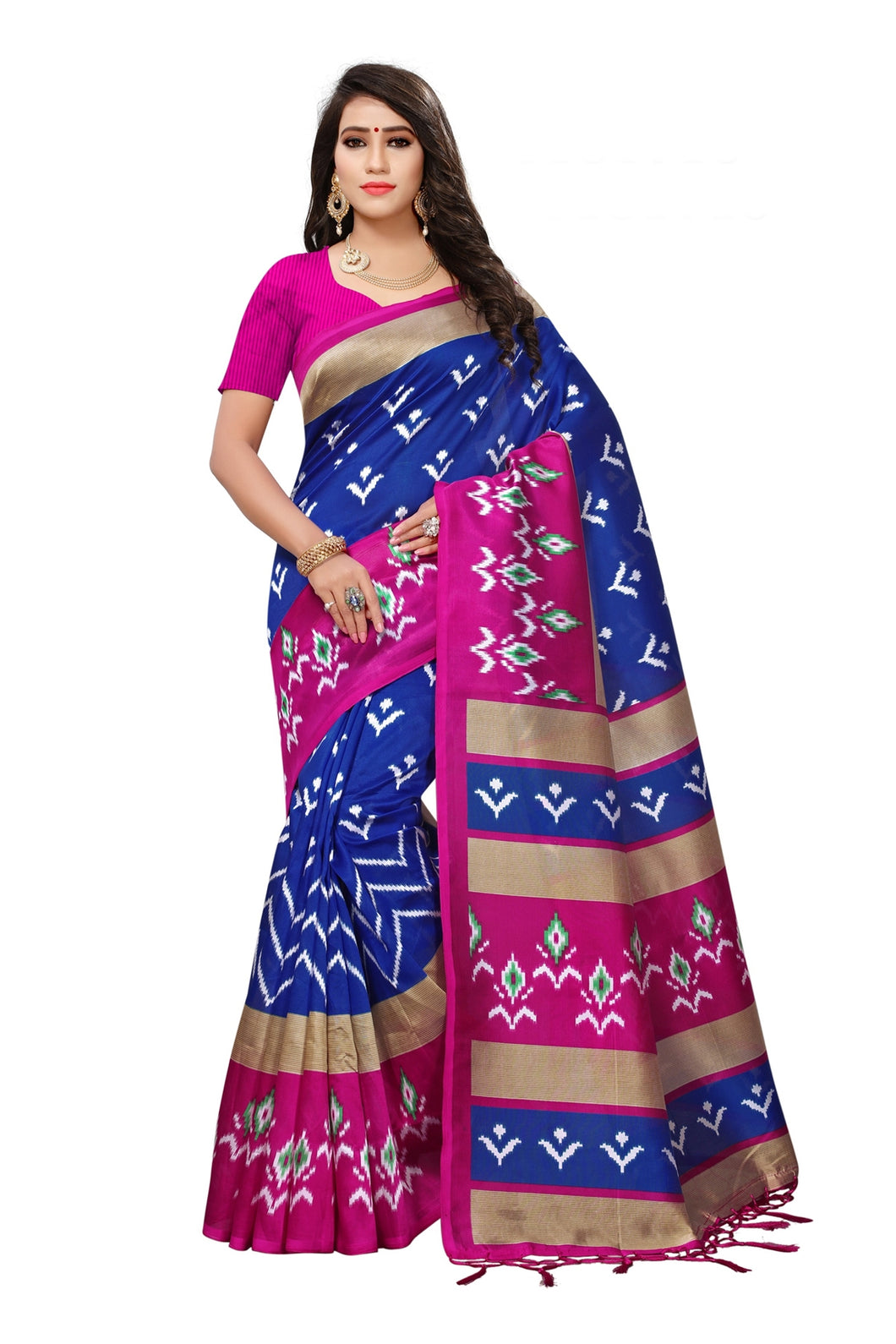 Bhelpuri Navy Blue Mysore Silk Printed Saree with Blouse Piece