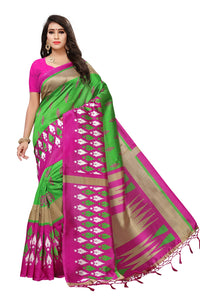 Bhelpuri Light Green and Pink Mysore Silk Printed Saree with Blouse Piece