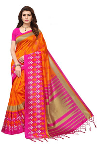 Bhelpuri Orange and Pink Mysore Silk Printed Saree with Blouse Piece