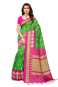 Bhelpuri Green and Pink Mysore Silk Printed Saree with Blouse Piece