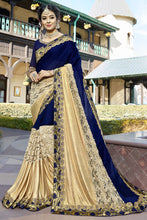 Load image into Gallery viewer, Bhelpuri Navy Blue and Gold Silk Half n Half Net Lace Border Saree with Silk Blouse Piece
