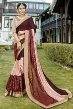 Load image into Gallery viewer, Bhelpuri Dark Brown and Baby Pink Silk Half n Half Net Lace Border Saree with Silk Blouse Piece