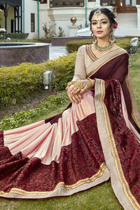 Bhelpuri Dark Brown and Baby Pink Silk Half n Half Net Lace Border Saree with Silk Blouse Piece
