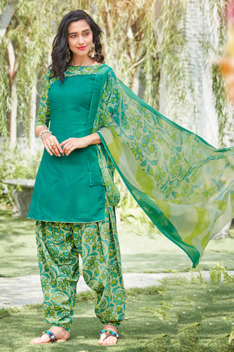 Bhelpuri Sea Green Cotton Embroidered Dress Material with Chiffon Dupatta