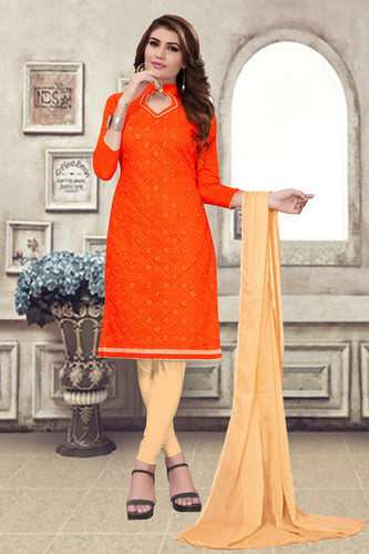 Bhelpuri Orange Chanderi Embroidered Dress Material with Chiffon Dupatta