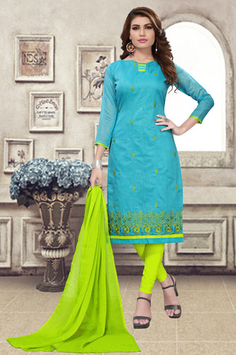 Bhelpuri Sky Blue Chanderi Embroidered Dress Material with Chiffon Dupatta