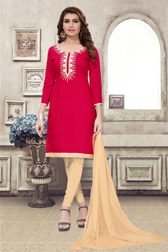 Bhelpuri Red Chanderi Embroidered Dress Material with Chiffon Dupatta